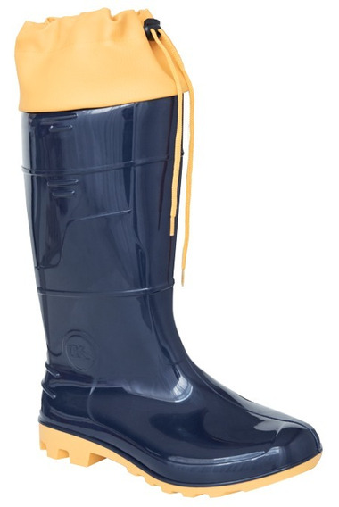 Bota Sapatão Borracha Pvc Azul Solado Amarelo Cano Alto