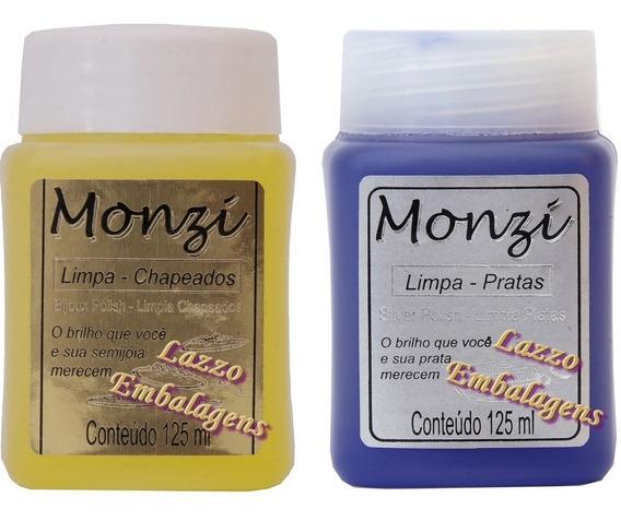 Monzi Limpa Prata E Limpa Chapeado 125ml Com 2 Flanelas