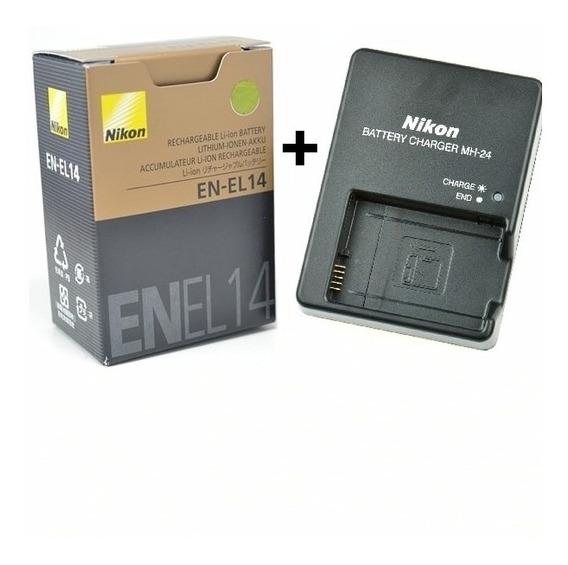 Bateria Nikon En-el14 + Carregador Mh-24 D3200 D5200 D3100