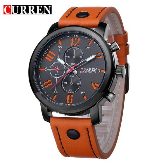 Relógio Couro Moda Militar Luxo Esporte Importado Original