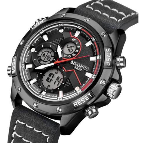 Relógio Masculino Esportivo Boamigo F924 Couro Cronógrafo