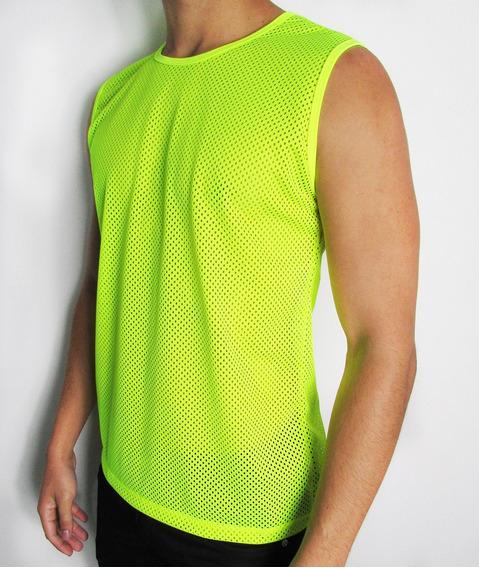 Camiseta Transparente Regata Machão Tela Verde Neon