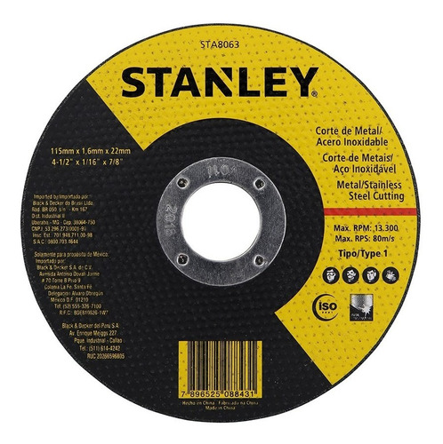 100 Discos Corte 4.1/2 X 1,0 X 7/8 Pol. Stanley Sta8061