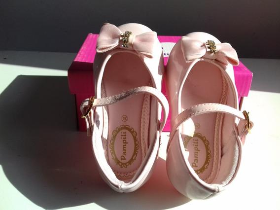 Sapato Infantil Rosa Bale Pampili Verniz Luxo Festa
