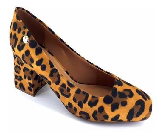 Sapato Feminino Vizzano Salto Grosso Camurça Onça - 1311.101