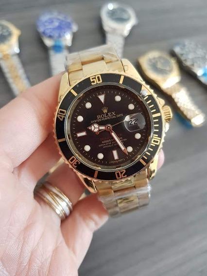 Relogio Masculino Dourado De Luxo Todo Em Aço Frete Grátis
