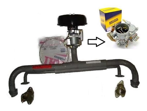 Kit Carburação Simples Coletor Kombi 1600 Carburador Brosol