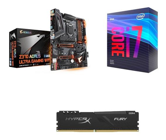 Intel Core I7-9700f + Z370 Aorus Wifi + Memoria 16gb (2x8)