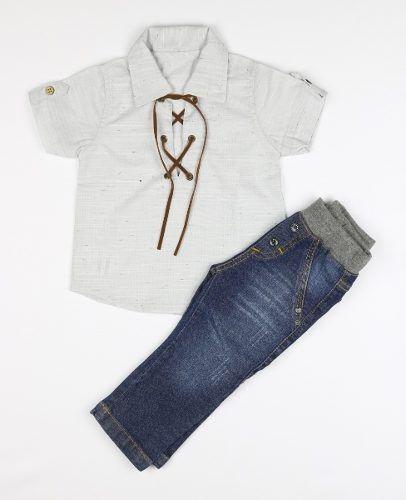 Roupa Conjunto Bebê Menino Camisa Estilos E Calça Jeans 2313