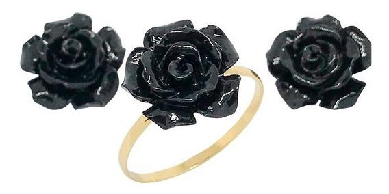 Conjunto Anel Brinco Ouro 18k Flor Negra Namorados Debutante
