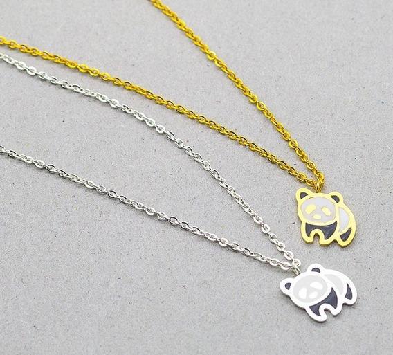 2 Colar De Urso Panda Corrente Com 25cm + Pingente De 2,5cm