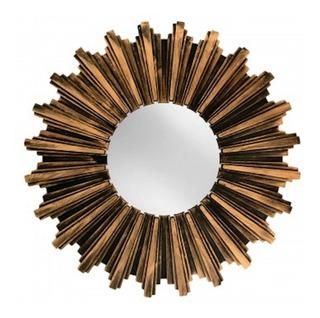 Espejo De Pared De Bronce Antiguo En Forma De Rayos Solar