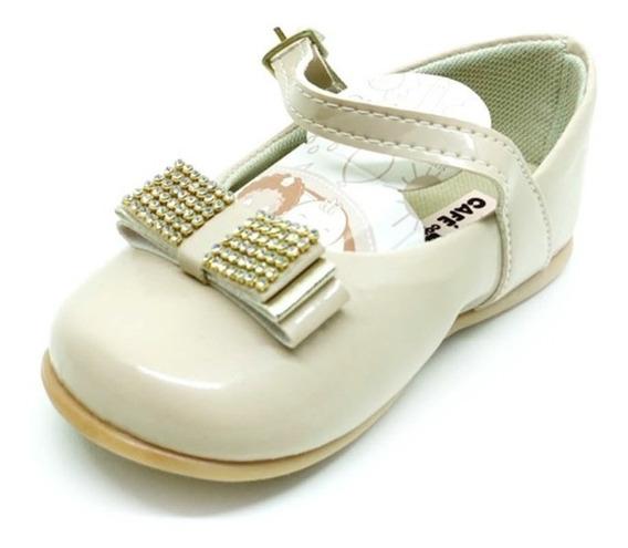 Sapatilha Infantil Bebê Verniz Preto/nude Sapato Boneca