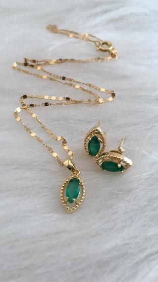 Gargantilha + Brinco Banhado A Ouro Pingente Pedra Verde