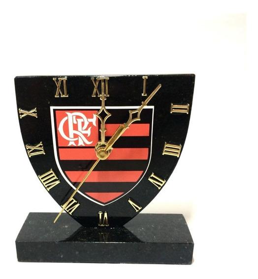 Relógio Do Flamengo De Pedra Granito Preto Frete Grátis!