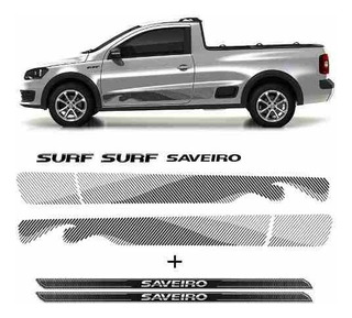 Kit Faixa Preta Saveiro Surf 2015/2016 + Soleira Protetora