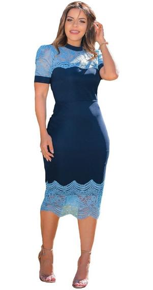 Vestido Midi Manga Princesa Azul Festa Moda Evangélica
