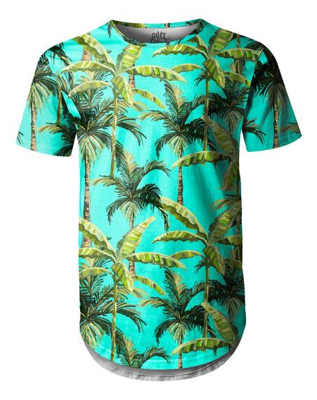 Camiseta Masculina Longline Swag Palmeiras Tropicais