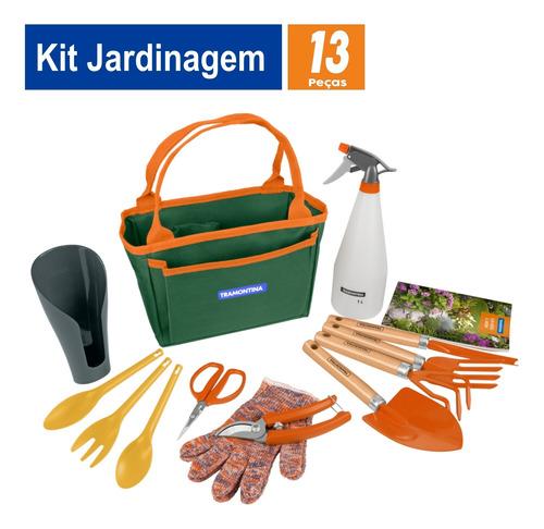 Imagem 1 de 9 de Kit Jardinagem Tramontina Bolsa De Lona 13 Peças Presente