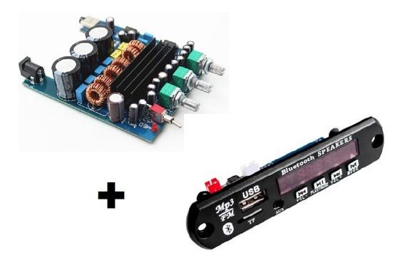 Placa Amplificador 2.1 200w + Decodificador Bluetooth Caixa