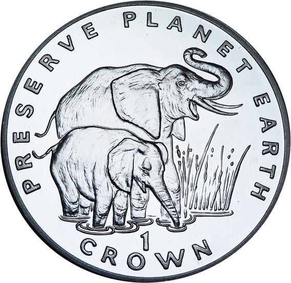 .: Gibraltar 1 Crown 1994 Animales Elefante - Plata Proof :.