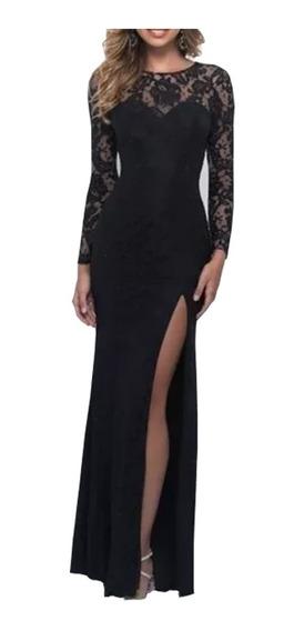 Vestido Longo Renda,madrinha ,fenda Manga Casamento # Vl185