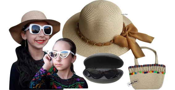 Bolsa Praia Infantil + Chapéu Menina 4 Até 8 Anos + Óculos De Sol Kit
