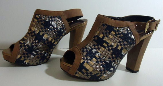 Sandalia Colcci Azul E Prata Comfort Luxo Desapego Nº 35
