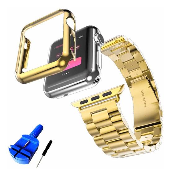 Set De Lujo Apple Watch Correa De Acero Y Funda, El Mejor!!!