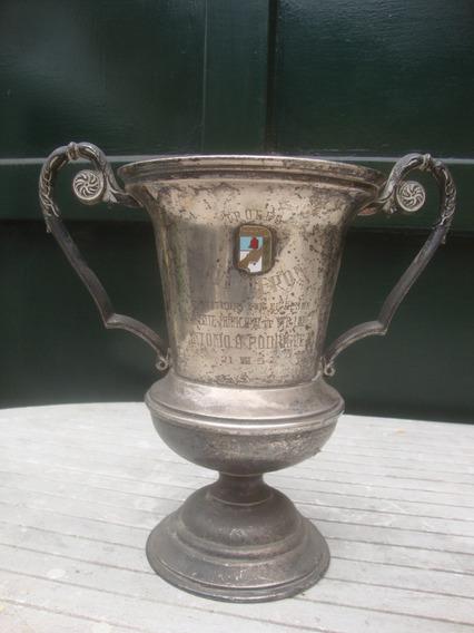 Antigua Copa Trofeo Eva Peron 1.954 En Metal Bañado En Plata