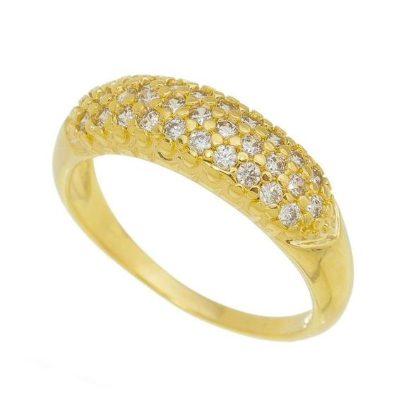 Anel Cravejado Com Pedras Zircônias 15 Microns Ouro 18k