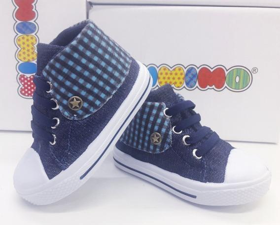Tênis Kimimo Infantil Masculino Jeans Escuro, Xadrez 718158