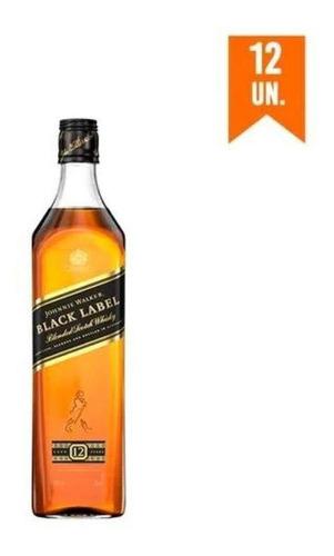 Kit Whisky Johnnie Walker Black Label 750 Ml - 12 Unidades