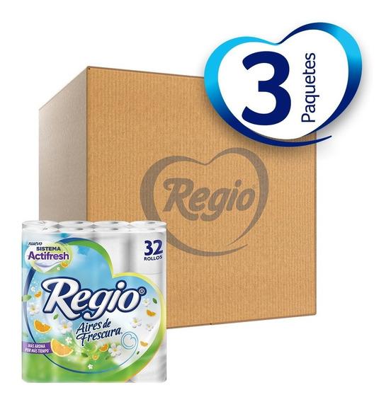 Caja Con 3 Papel Higiénico Regio Aires De Frescura 32 Rollos
