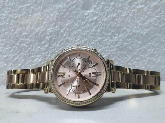 Reloj Mk Michael Kors Sofie Crystal Mk-6584 Dorado Rosado