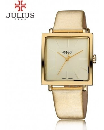 Relógio De Pulso Feminino Julius Dourado Marrom Preto Luxo
