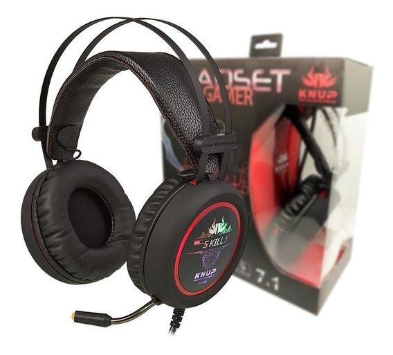 Headset Gamer Com Microfone 7.1 Sound Light Knup Kp-401, Poderoso Fone Com Efeito 3d