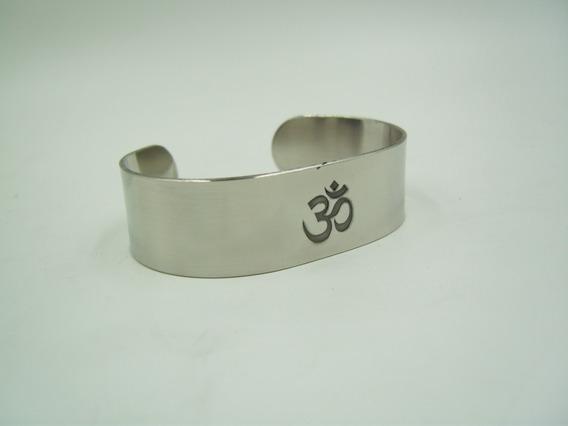 Pulsera Símbolo Om Yoga Meditación Acero Inox. Ancho 2cm