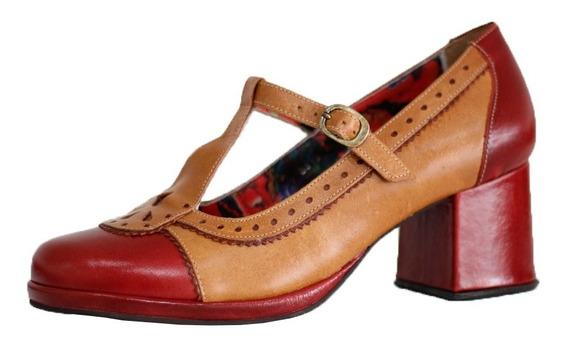 Sapato Boneca Vintage Em Couro Feminino 5828 Estilo Oxford