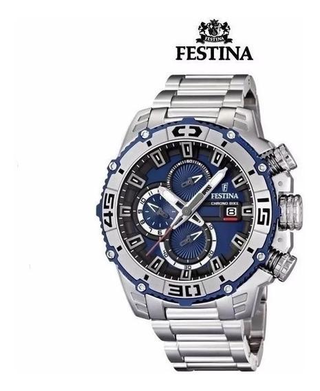 Relogio Fpf5699 Festina F16599 Chrono Prata Azul C/ Caixa