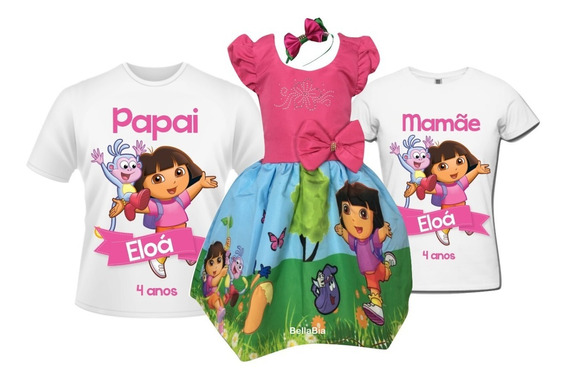 Vestido Dora A Aventureira + Camisetas Pai E Mãe + Tiara