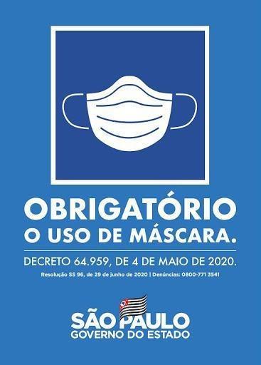 Placa Sinal 20x30 obrigatorio Uso De Mascara Sinalize