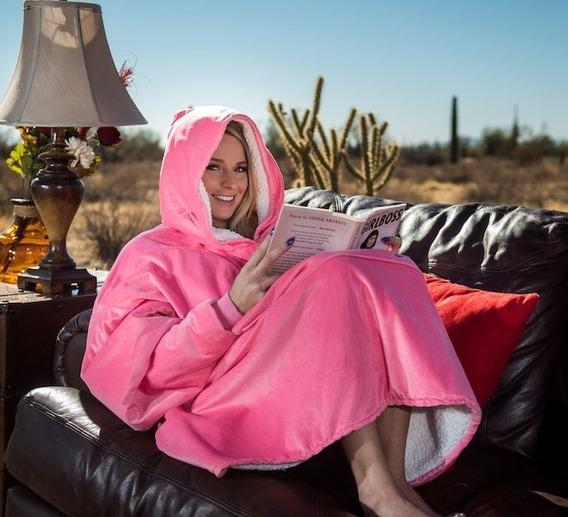 Cobertor Tv Com Mangas Fechado C/ Capuz Comfy Shark Tank Eua