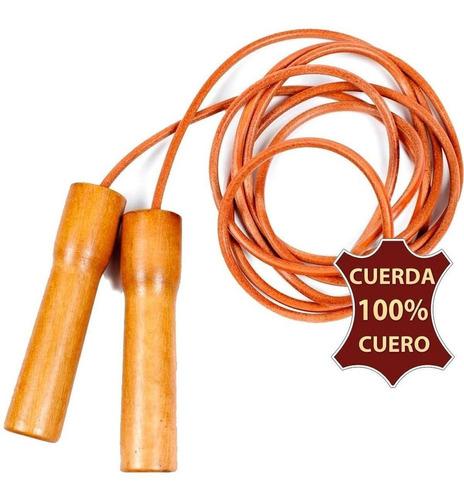 Cuerda De Saltar 100% Cuero C/ Ruleman Boxeo Fitness El Rey