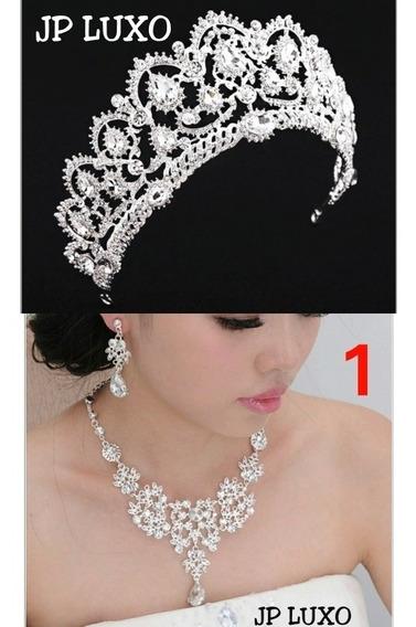 Coroa Noiva Colar Noiva Debutante Rainha 15 Anos Miss Prata