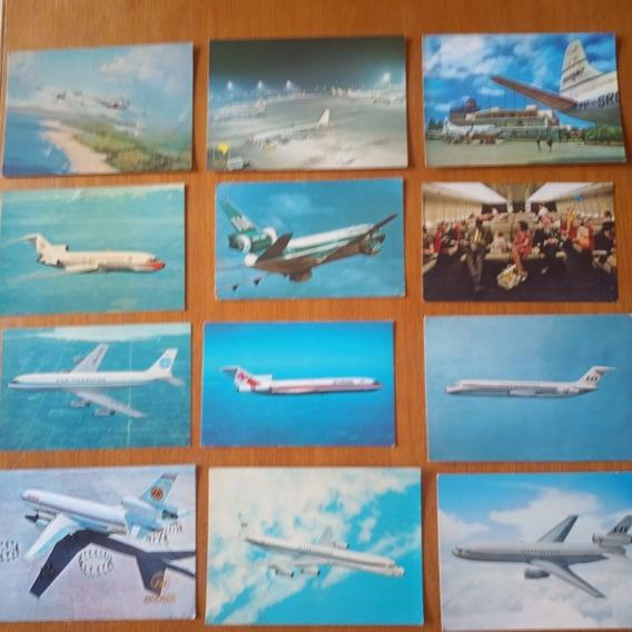 Avião - Lote Cartão Postal De Aviação - 12 Unidades