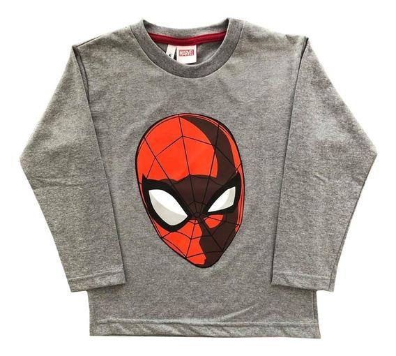 Remera Nene Manga Larga Spiderman Hombre Araña Marvel Or