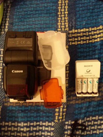Flash Canon 430ex Iii Speedlite + Carregador Sony Com 4 Pilh