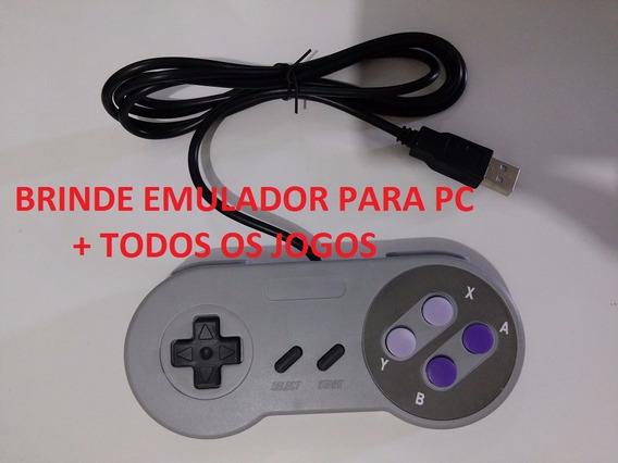 Controle Usb Pc Snes Super Nintendo Emulador Todos Os Jogos
