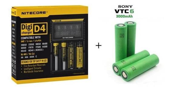 Carregador Niticore D4 + 4 Baterias Sony Vtc6 3000mah Vape